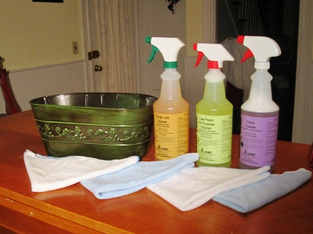 Green Cleaning Kit and Green Cleaning Products Basket